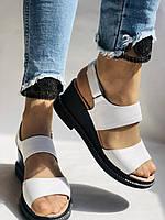 Модные босоножки, белые на невысокой платформе.Натуральная кожа. Размер 37.Турция. Магазин Vellena, фото 2