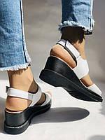 Модные босоножки, белые на невысокой платформе.Натуральная кожа. Размер 37.Турция. Магазин Vellena, фото 9