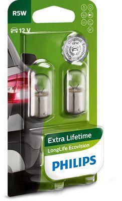 Audi 80 Автомобильная лампа (к-кт из 2шт) R5W LongeRLife EcoVision 12V BA15s Блистер - Цена указана за компл PHILIPS PHI 12821LLECOB2, фото 2