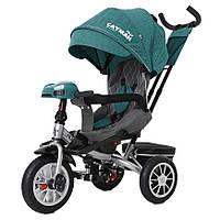 Велосипед коляска трехколесный с родительской ручкой USB фара и пульт TILLY Cayman Тилли Кайман Изумрудный лён