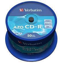 Диск CD Verbatim 700Mb 52x Cake box 50 Crystal (43343)
