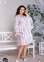 Платье летнее с широкими рукавами в нежно-розовом цвете с рисунком .