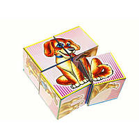 """Кубики """"Домашние животные"""" 4 кубика, """"Технокомп"""" 1837"""