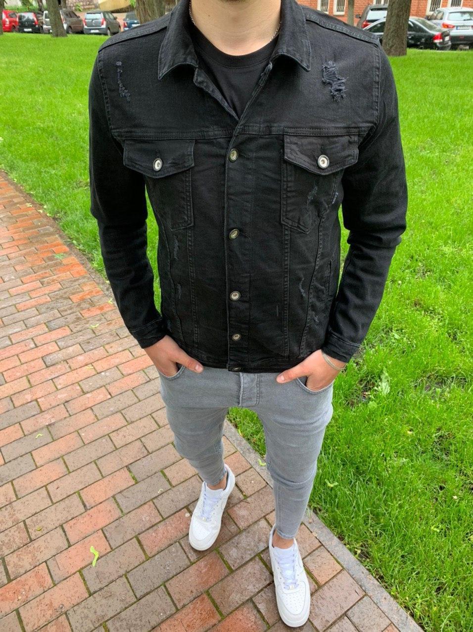 Мужская джинсовая куртка (черная)
