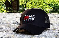 Бейсболка кепка с сеткой Томи Хилфигер черная
