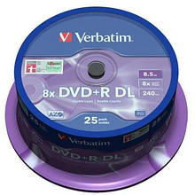 Диск DVD Verbatim 8.5Gb 8x CakeBox 25шт Matt Silver (43757)