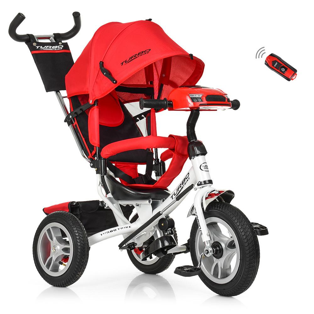 Велосипед M 3115-3HA (1шт)три кол.резина (12/10),колясоч.USB/BT,свет,своб.ход кол,торм,подшип,красн
