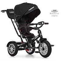 Велосипед M 4057-20 (1шт)три кол.резина (12/10),колясочн,поворот,регул.руля,свет,черный