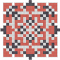 Схема на ткани для вышивания бисером Богдана - имя закадированное в вышиванке КМР 7109