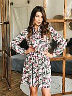 Платье мини,рубашечного кроя,длинный рукав,юбка-полусолнце,цветы шелковистый креп-софт,С,М