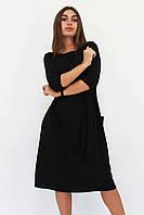S, M, L, XL / Класичне жіноче плаття-міді Tirend, чорний L (46-48)