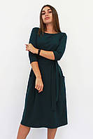 S, M, XL / Класичне жіноче плаття-міді Tirend, темно-зелений