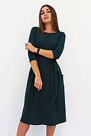 S, M, XL / Класичне жіноче плаття-міді Tirend, темно-зелений XL (48-50)