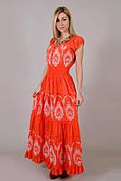Платье  летнее, женское макси с вышивкой. Хлопок прошва. Индия. Оранжевый 48-52 р.