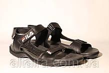 Черные кожаные мужские сандалии.