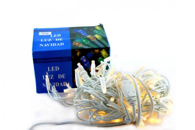 Светодиодная LED гирлянда Xmas 100 WW-9 белый провод (тёплый белый диод), фото 2