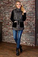 """Короткое женское демисезонное пальто - черно-серое """"S"""" (13991.1.1)"""