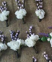 Комплект Эустома лаванда фрезии Свадебные украшения  Бело-фиолетовая свадьба бутоньерка гостю