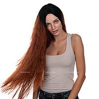 Самый длинный парик из искусственных волос Juny AT без челки, термоволосы, цвет каштановый