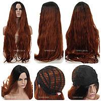 90 см! Длинный парик из искусственных волос Juny AT без челки, термоволосы, цвет каштановый