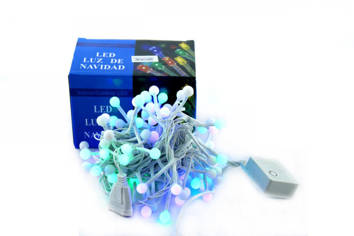 Светодиодная LED гирлянда Xmas 100 M-9 RGB маленький шарик, белый провод (цветные диоды)