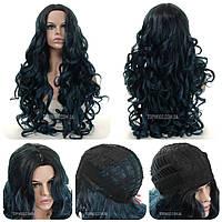 Кудрявый парик из искусственных волос Linn AT без челки, длинный, термоволосы, цвет синий с черным