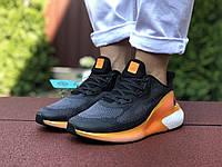 Женские кроссовки Adidas Alphaboost (черно-оранжевые) 9380
