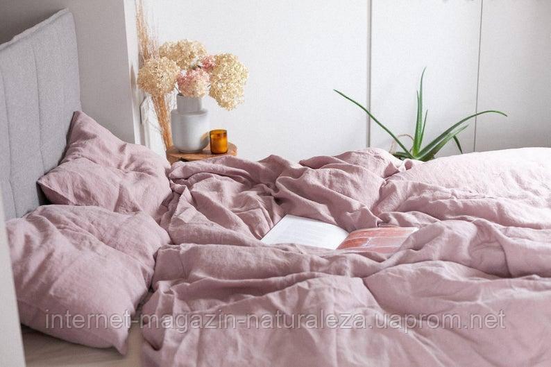 Комплект постельного белья евро лен 220 х 200 пыльно-розовый цвет