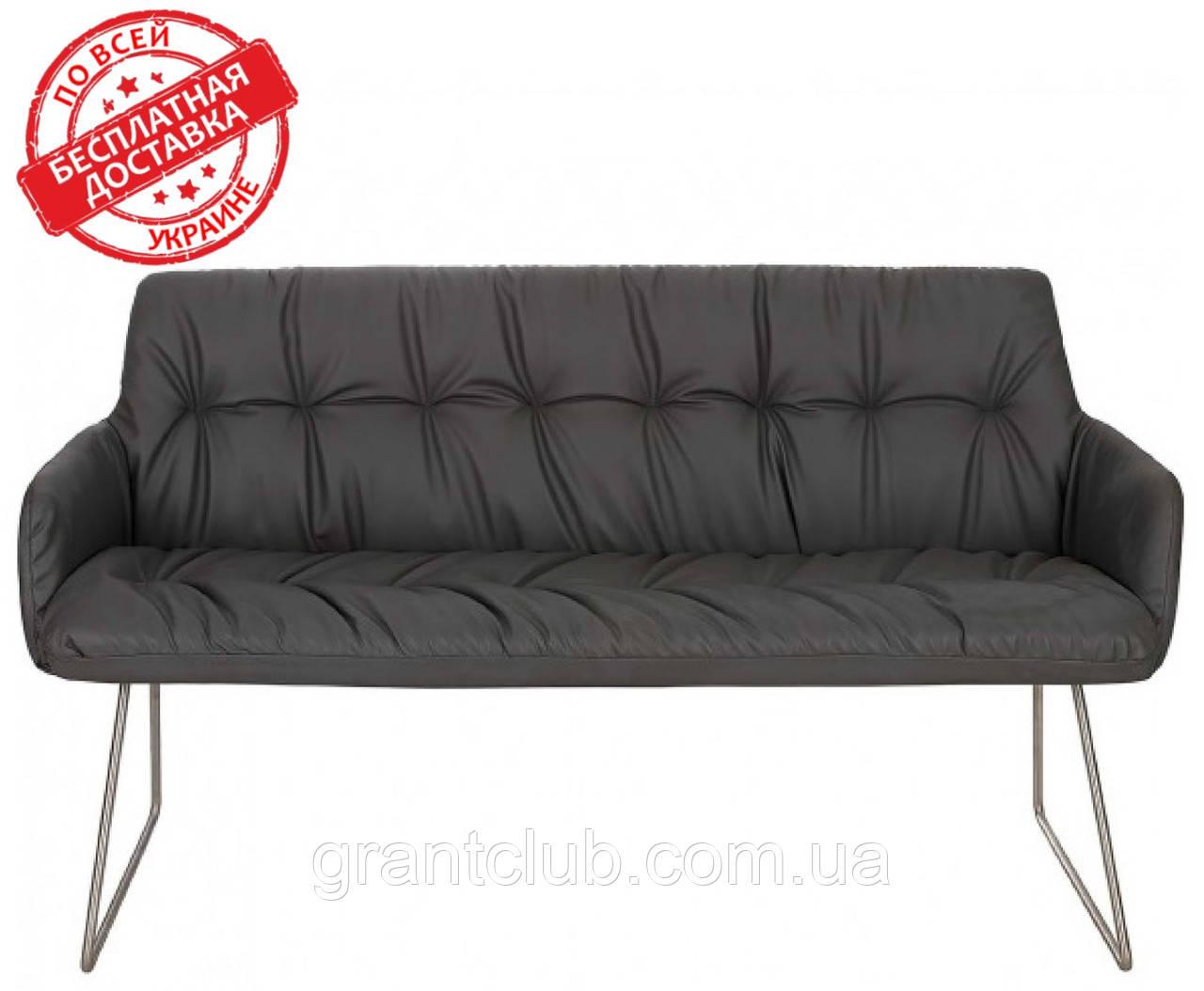 Кресло - банкетка LEON темно-серый кожзам 155 см Nicolas (бесплатная адресная доставка)