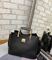 Сумка с металлической ручкой. Женская большая сумка из мягкой экокожи. Вместительная сумка женская Черный.