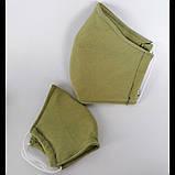 Багаторазова 3 шарова захисна трикотаж тканинна маска для обличчя дитяча жіноча чоловіча підліткова бавовна, фото 2