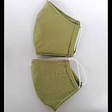 Багаторазова 3 шарова захисна трикотаж тканинна маска для обличчя дитяча жіноча чоловіча підліткова бавовна, фото 4