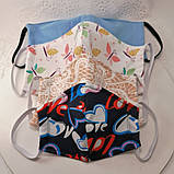 Багаторазова 3 шарова захисна трикотаж тканинна маска для обличчя дитяча жіноча чоловіча підліткова бавовна, фото 10