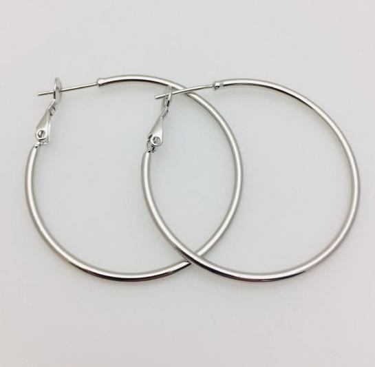 Серьги кольца Fallon 40 мм, родий