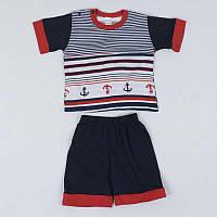 """Акция! Комплект для мальчика: футболка с шортами Igrusha КС-23 """"1"""" /р.86/ /якорь в полоску/ [Товар продаётся"""