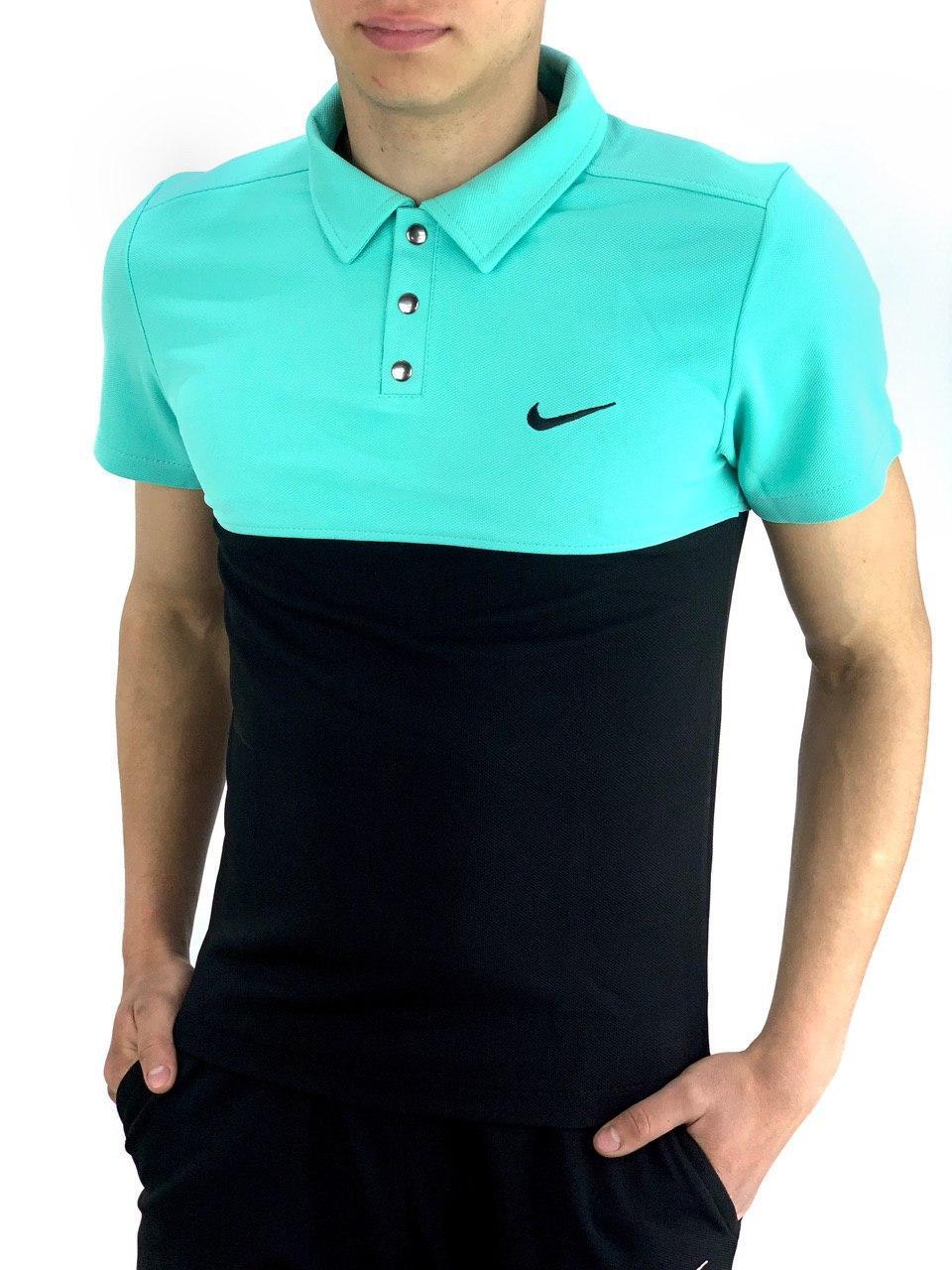 Футболка Поло Мужская черная-бирюзовая в стиле Nike (Найк)
