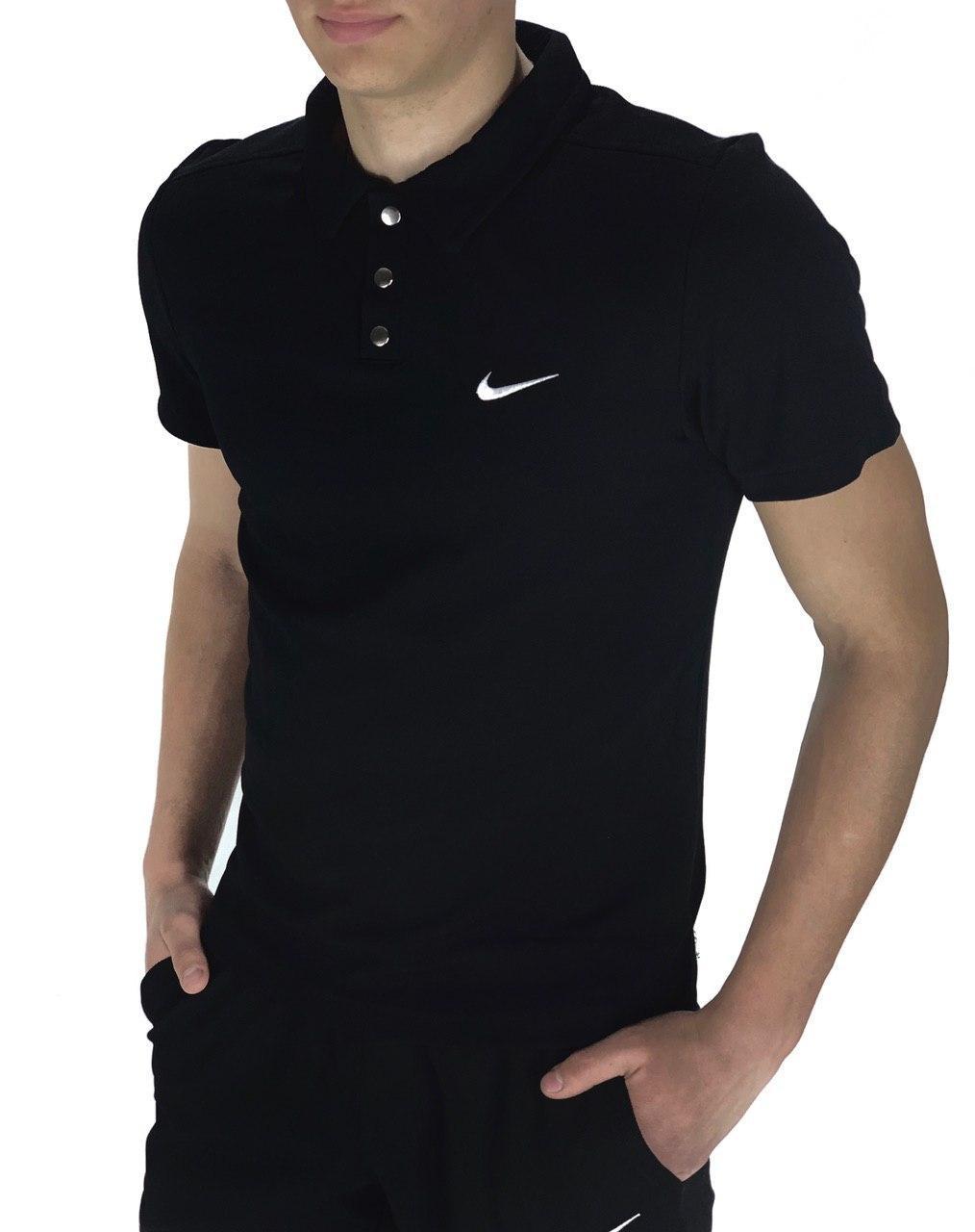 Футболка Поло Мужская черная в стиле Nike (Найк)