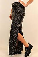 Зимняя стеганная длинная юбка с разрезами по бокам 42-48 р