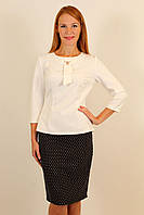 Элегантный нарядный костюм двойка ( юбка горох плюс белая блузка ) 44-50 р