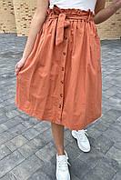 Юбка миди с поясом декорированная пуговицами LUREX - св-коричн цвет, S (есть размеры), фото 1