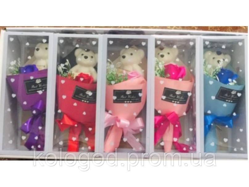 Букет Роз Ароматическое Мыло с Мишкой День Святого Валентина 8 Марта Любимым Подарок 5 букетов в Упаковке