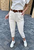 Модные женские джинсы летние с поясом  PERRY - молочный цвет, L (есть размеры), фото 1