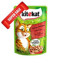 Влажный корм для кошек Kitekat с говядиной в соусе 100 г