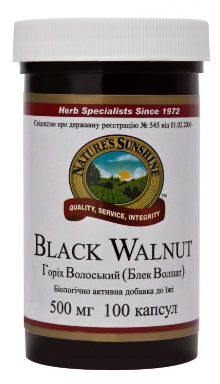 Грецкий орех, черный, 100 капсул по 500 мг, Black Walnut, NSP, США