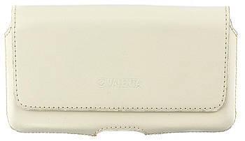Кожаный футляр на пояс для смартфонов 5,5-6 дюймов Светло-бежевый