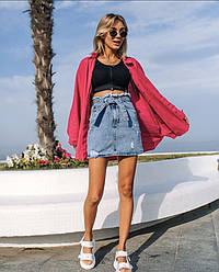 Юбка мини джинсовая с поясом