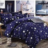 Байковый  комплект постельного белья Байка ( фланель)  Звезды евро