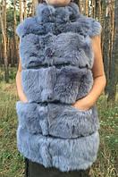 Женский жилет из тонированного меха кролика., фото 1
