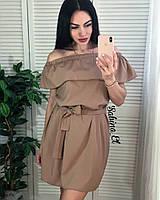 Летнее платье из софта с открытыми плечами, фото 1
