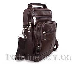 Мужская кожаная сумка Dovhani Black402035 Коричневая, фото 2